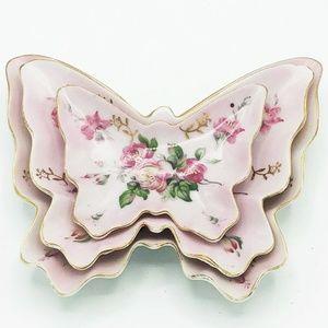 Set of 3 Vintage Pink Floral Butterfly Trinket Dis